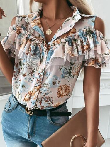 Fashion Women Turn down neck Ruffle off shoulder floral printed blouses