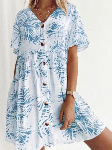 Cotton-Blend V Neck Short Sleeve Printed Dresses