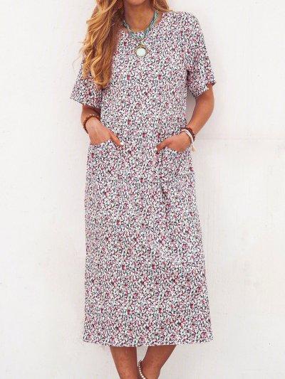 Floral Pockets Midi Dress Summer Short Sleeve Dresses