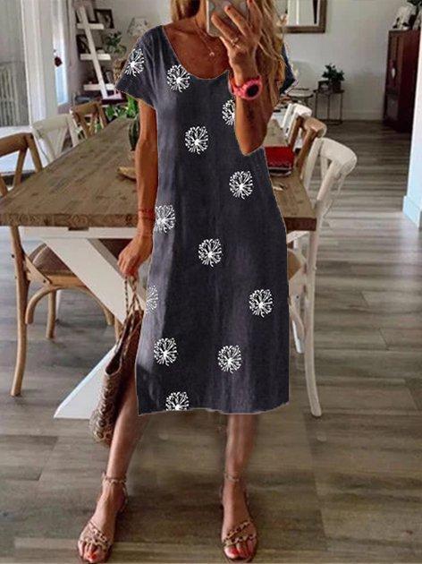 Plus Size Vintage Boho Hippie Holiday V Neck Casual Dresses