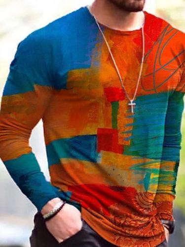 Men's Contrast Painting Print Long Sleeve T-shirt