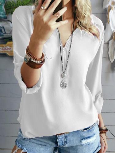 Fashion V neck chiffon zipper design plain long sleeve women blouses