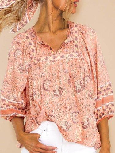 Paisley  Half Sleeve  Printed Polyester  V neck Boho Summer  Orange Top