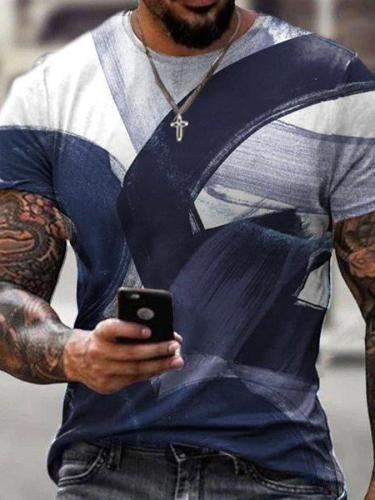 Men's trendy personality printed short sleeves