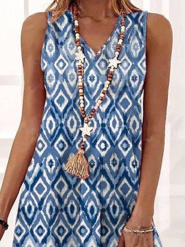 Printed Vintage Sleeveless Dresses