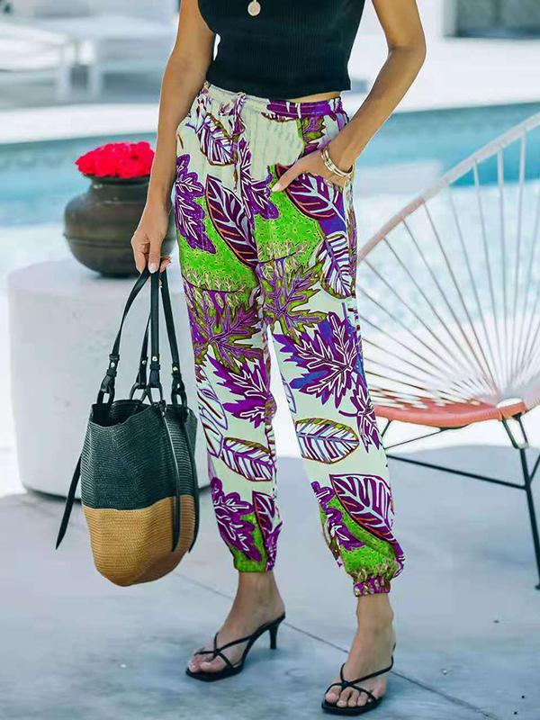 Women printed floral design long pants with pockets