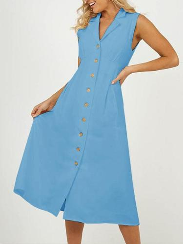 Lapel Women Midi Dresses A-Line Daily Vintage Cotton Maxi Dresses