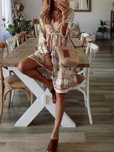 Bohemia Style women v neck printed skater dresses