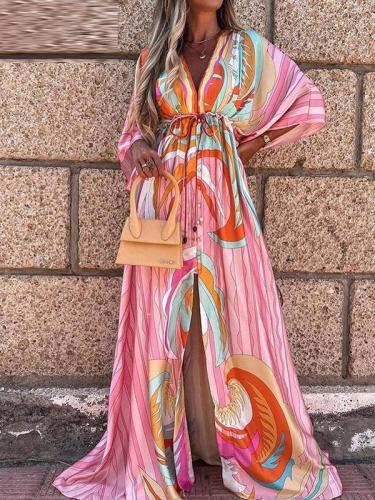 Romatic V neck printed special vacation dresses maxi dresses