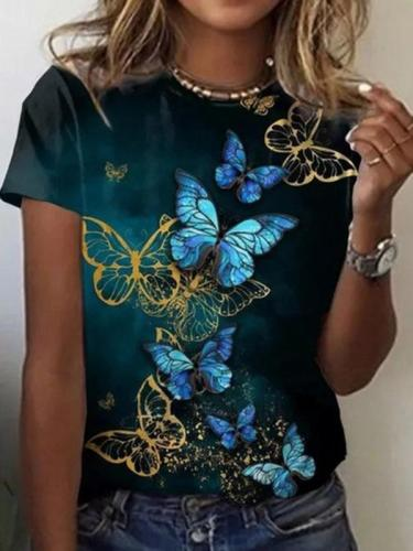 Casual Floral-Print Short Sleeve T-Shirts  Tops