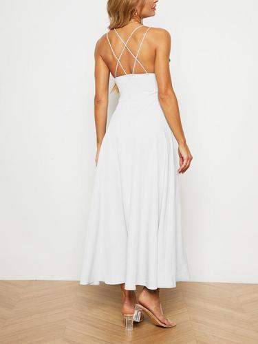 Elegant women plain sleeveless halter long dress evening dresses