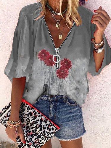 Zipper Cotton Shirts & Tops