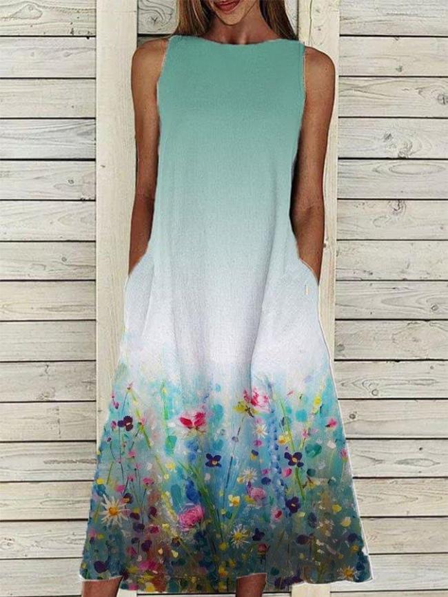 Green A-Line Casual Linen Floral-Print Dresses