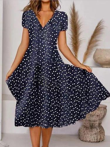 Deep Blue Short Sleeve V Neck A-Line Casual Dresses