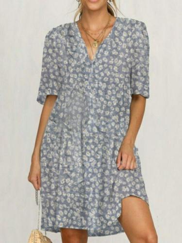 Plus size Daisy Short Sleeve Casual Dresses