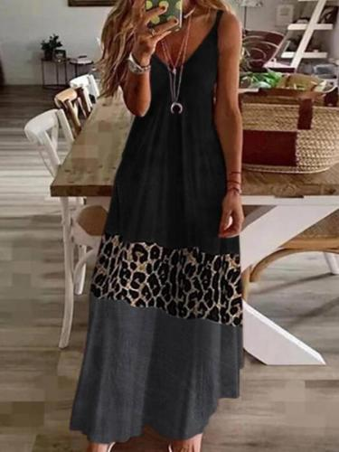Sleeveless Leopard Print Shift V Neck Dresses