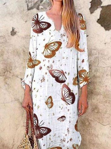 White V Neck Long Sleeve Animal Printed Dresses