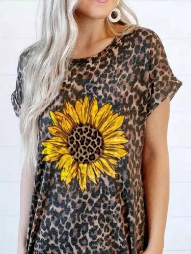 Leopard Print Shift Sleeveless Vintage Dresses