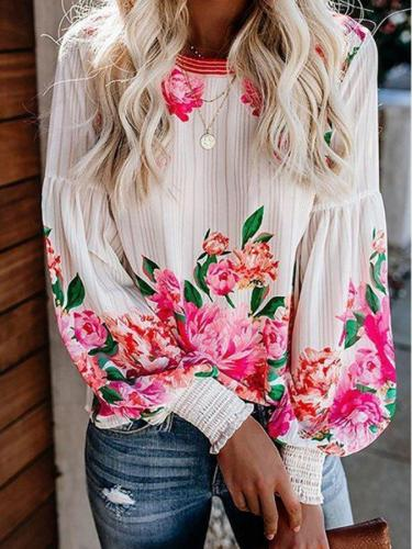 White Crew Neck Printed Floral Long Sleeve Shirts & Tops