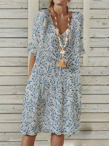 Polyester Cotton V Neck Pastoral Short Sleeve Dresses