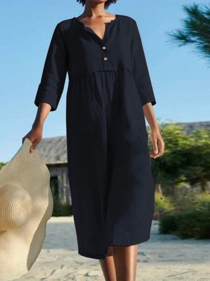 High-Twist Linen V Neck Solid Holiday Buttoned Dresses