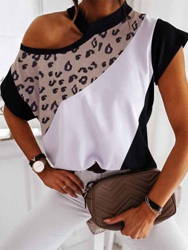 Casual Colorblock Leopard Print Short Sleeve Tops