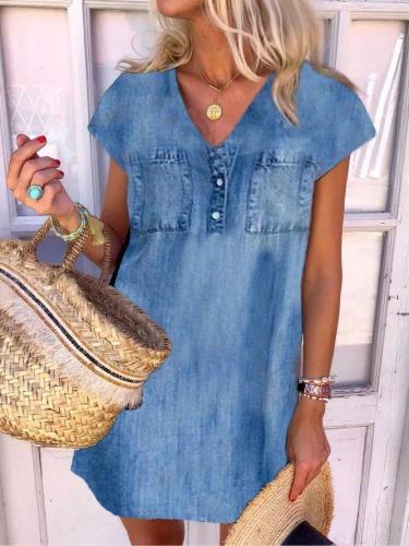 Casual Denim Cotton-blend Short Sleeve V Neck Dresses