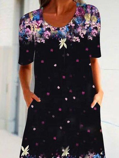 Black Floral Shift Short Sleeve Crew Neck Dresses