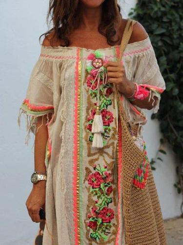 Casual Cotton-Blend Vintage Tribal Dresses