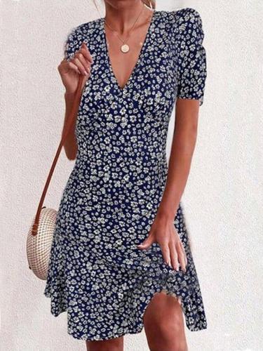 Dark Blue Casual Short Sleeve Floral-Print A-Line Dresses mini dresses for women