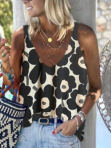 Black Floral Casual Sleeveless Tops