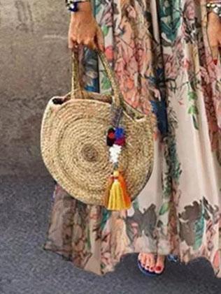 A-Line Tribal Sleeveless Crew Neck Dresses