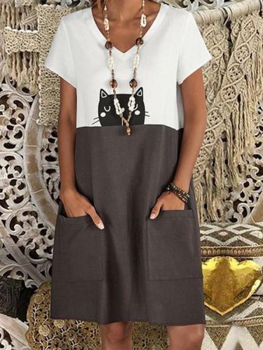 White Short Sleeve V Neck A-Line Dresses