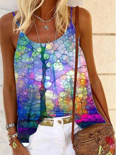 Cotton-Blend Printed Sleeveless Casual Shirts & Tops