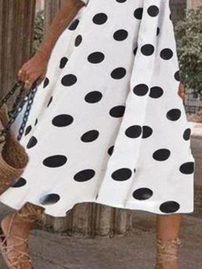 White Casual Printed Polka Dots Crew Neck Dresses