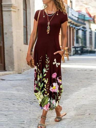 Round neck printed long dress with pockets maxi dresses