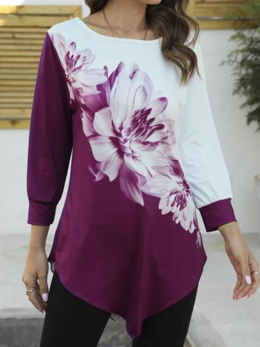 Round neck flower printed elegant long sleeve T-shirts
