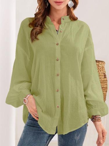 Loose plain cotton blend women button blouses