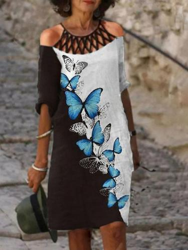 Vintage Printed Loose Half sleeve women fashion dress shift dresses