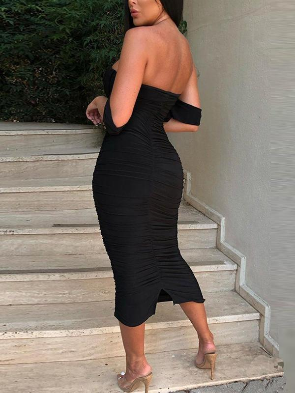 Sexy off soulder women plain evening dresses Paty dress