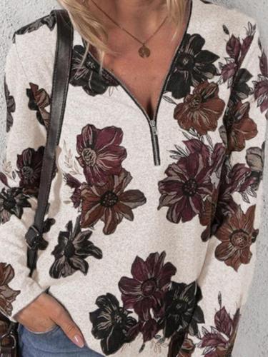 V neck zipper design women v neck long sleeve printed T-shirts