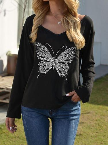 Stylish butterfly printed bling black T-shirts
