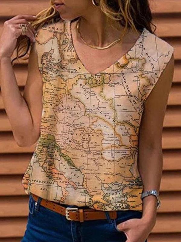 Women  v neck map printed sleeveless shirts fashion vests