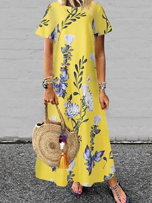 Floral women printed short sleev round neck maxi dresses
