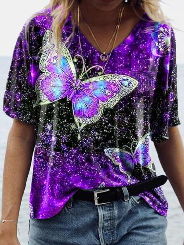 Casual v neck butterfly printed chic women short sleeve T-shirts