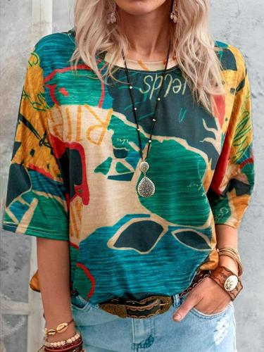 Abstract printed women round neck short sleeve T-shirts