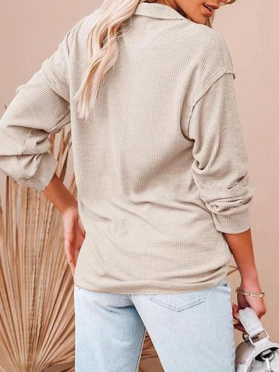 Casual v neck women button long sleeve plain blouses