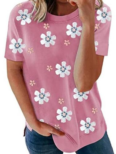 Summer flower printed short sleeve cute T-shirts