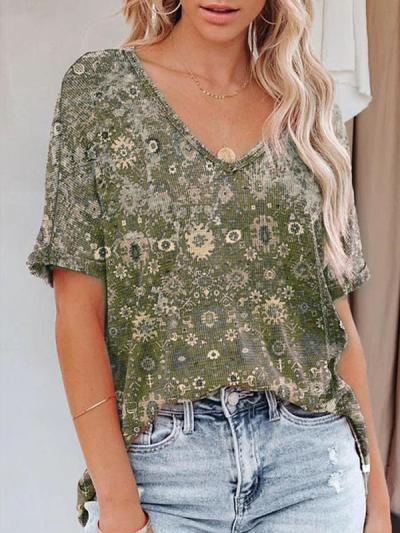 V neck printed women short sleeve flower T-shirts