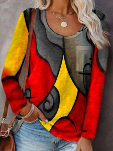 Chic women round neck abstract pprinted colorful long T-shirts